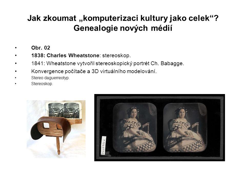 """Jak zkoumat """"komputerizaci kultury jako celek""""? Genealogie nových médií Obr. 02 1838: Charles Wheatstone: stereoskop. 1841: Wheatstone vytvořil stereo"""