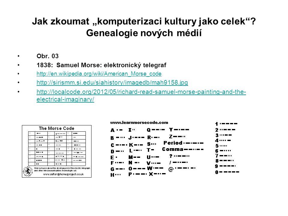 """Jak zkoumat """"komputerizaci kultury jako celek""""? Genealogie nových médií Obr. 03 1838: Samuel Morse: elektronický telegraf http://en.wikipedia.org/wiki"""
