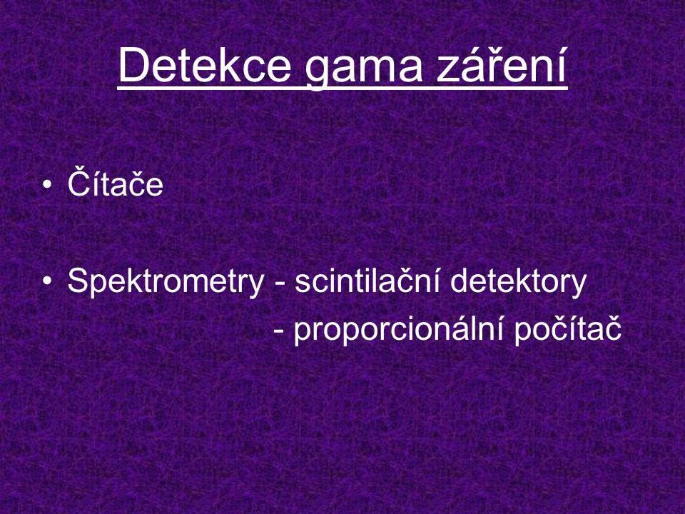 Detekce gama záření Čítače Spektrometry - scintilační detektory - proporcionální počítač