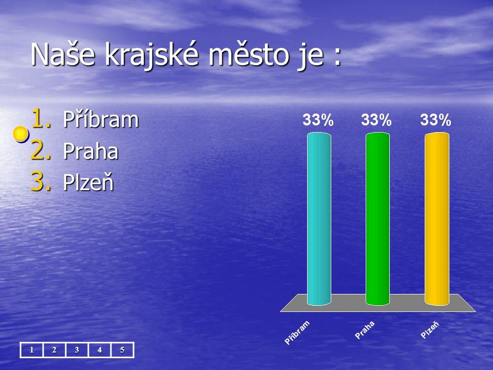 Naše krajské město je : 12345 1. Příbram 2. Praha 3. Plzeň