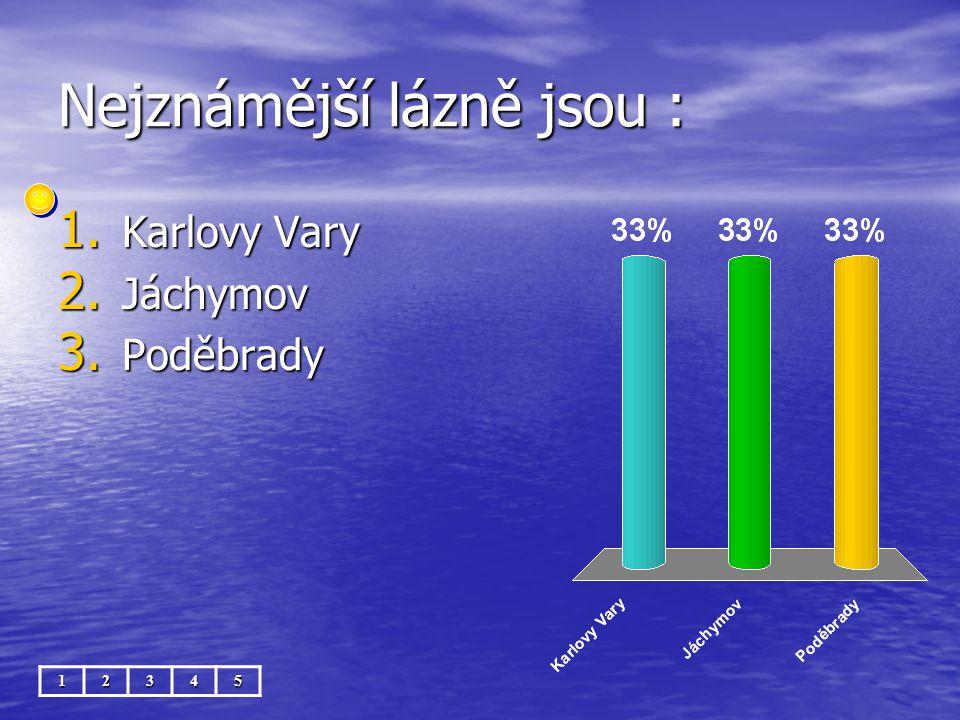 Nejznámější lázně jsou : 12345 1. Karlovy Vary 2. Jáchymov 3. Poděbrady