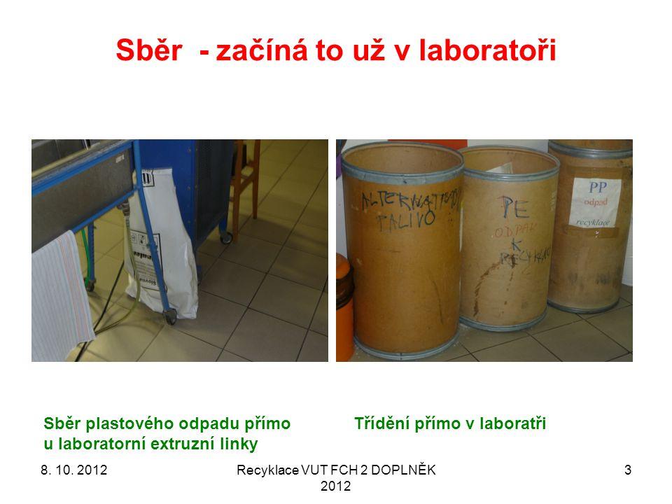 Sběr - začíná to už v laboratoři Recyklace VUT FCH 2 DOPLNĚK 2012 3 Třídění přímo v laboratřiSběr plastového odpadu přímo u laboratorní extruzní linky 8.