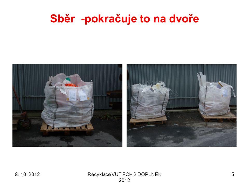 Sběr -pokračuje to na dvoře Recyklace VUT FCH 2 DOPLNĚK 2012 58. 10. 2012