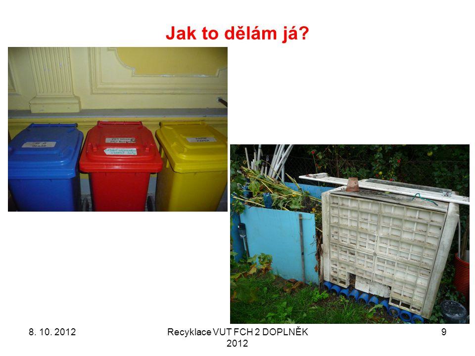 Jak to dělám já 8. 10. 2012Recyklace VUT FCH 2 DOPLNĚK 2012 9