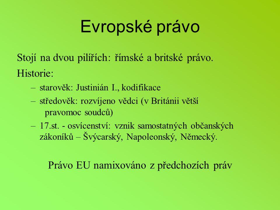 Evropské právo Stojí na dvou pilířích: římské a britské právo.