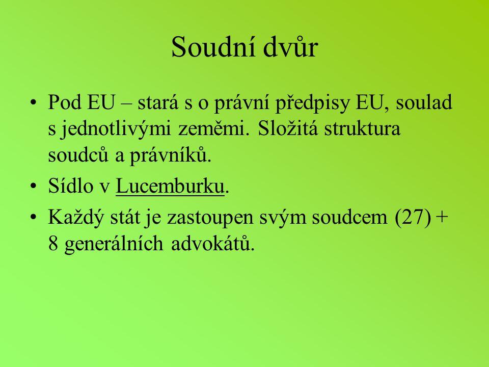 Soudní dvůr Pod EU – stará s o právní předpisy EU, soulad s jednotlivými zeměmi.