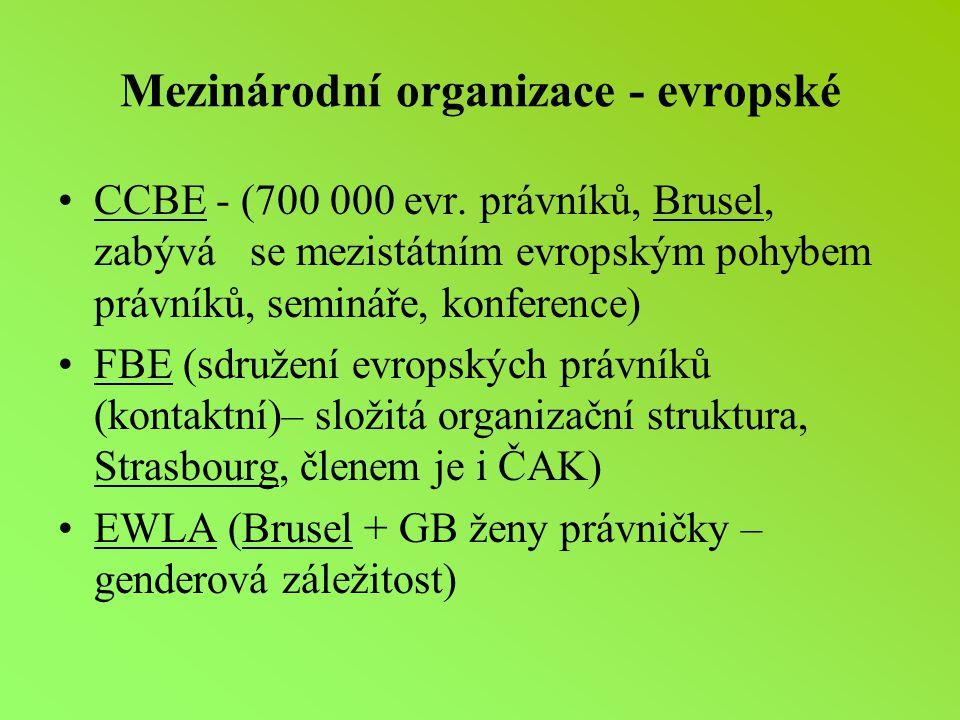 Mezinárodní organizace - evropské CCBE - (700 000 evr.