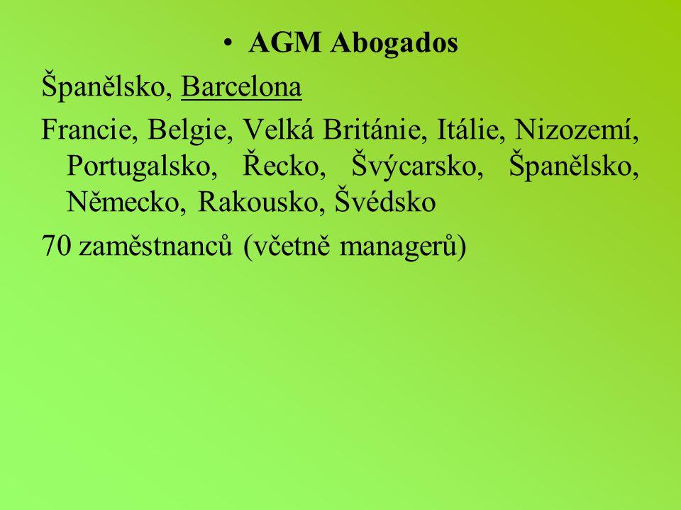 AGM Abogados Španělsko, Barcelona Francie, Belgie, Velká Británie, Itálie, Nizozemí, Portugalsko, Řecko, Švýcarsko, Španělsko, Německo, Rakousko, Švédsko 70 zaměstnanců (včetně managerů)