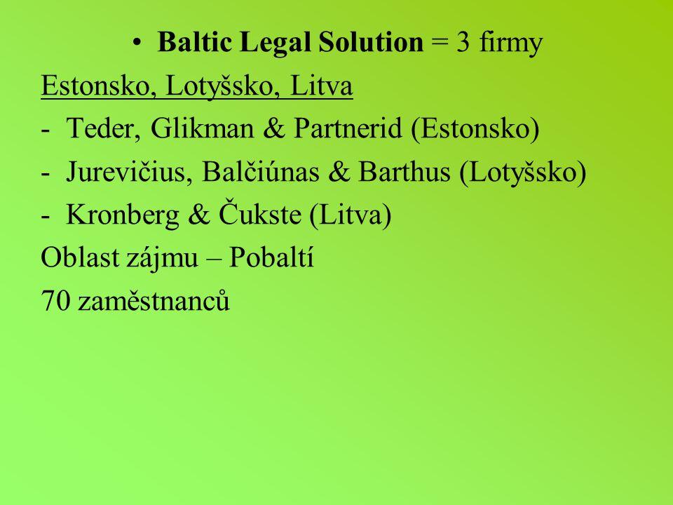 Baltic Legal Solution = 3 firmy Estonsko, Lotyšsko, Litva -Teder, Glikman & Partnerid (Estonsko) -Jurevičius, Balčiúnas & Barthus (Lotyšsko) -Kronberg & Čukste (Litva) Oblast zájmu – Pobaltí 70 zaměstnanců