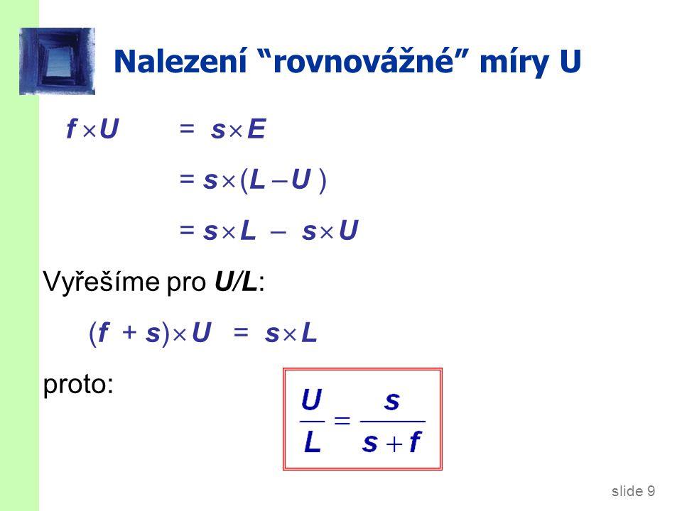 """slide 9 Nalezení """"rovnovážné"""" míry U f  U = s  E = s  (L – U ) = s  L – s  U Vyřešíme pro U/L: (f + s)  U = s  L proto:"""