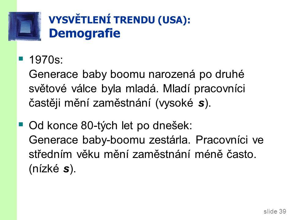 slide 39 VYSVĚTLENÍ TRENDU (USA): Demografie  1970s: Generace baby boomu narozená po druhé světové válce byla mladá. Mladí pracovníci častěji mění za
