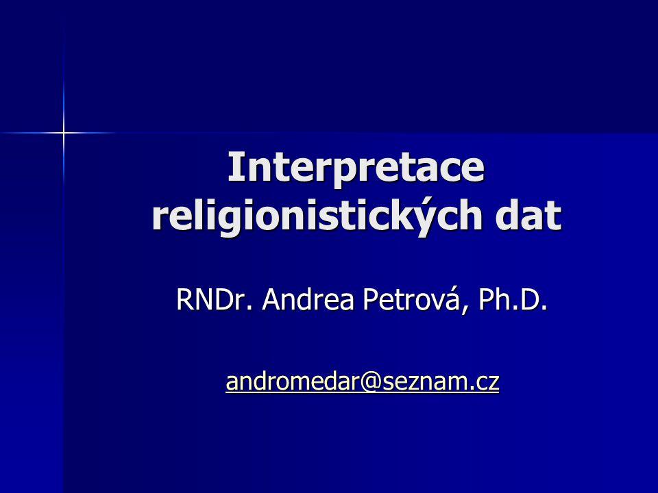 Interpretace religionistických dat RNDr. Andrea Petrová, Ph.D. andromedar@seznam.cz