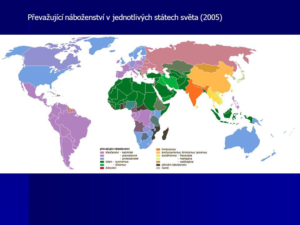 Převažující náboženství v jednotlivých státech světa (2005)