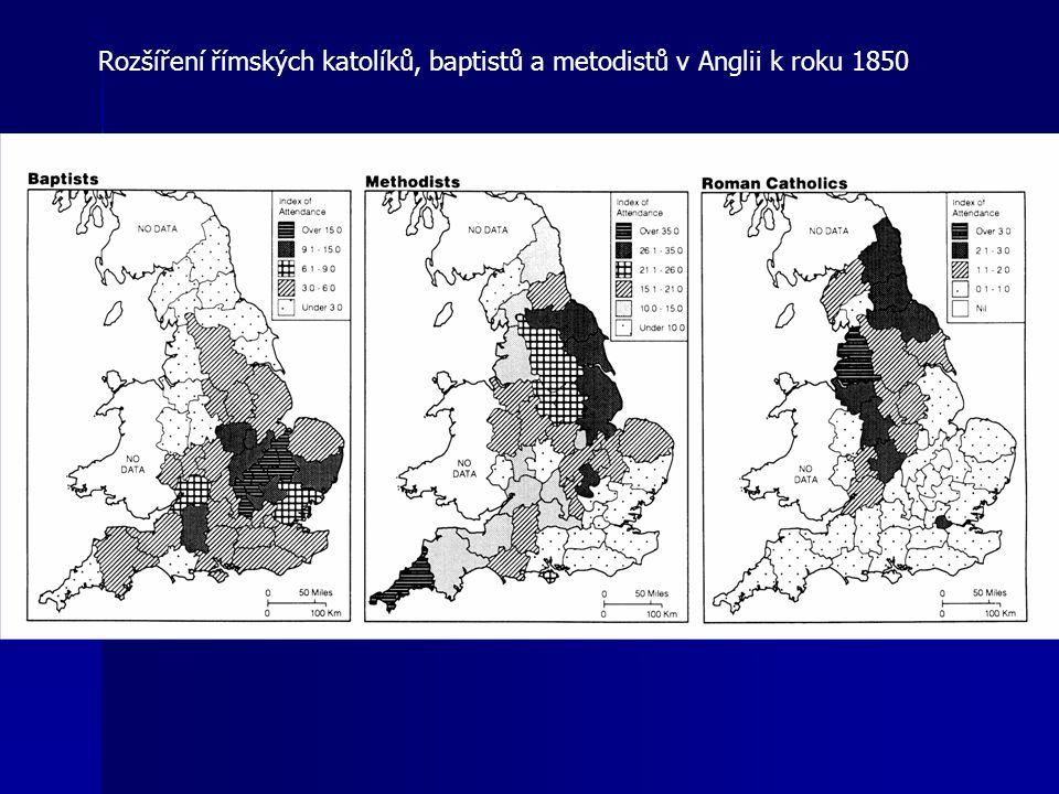 Rozšíření římských katolíků, baptistů a metodistů v Anglii k roku 1850