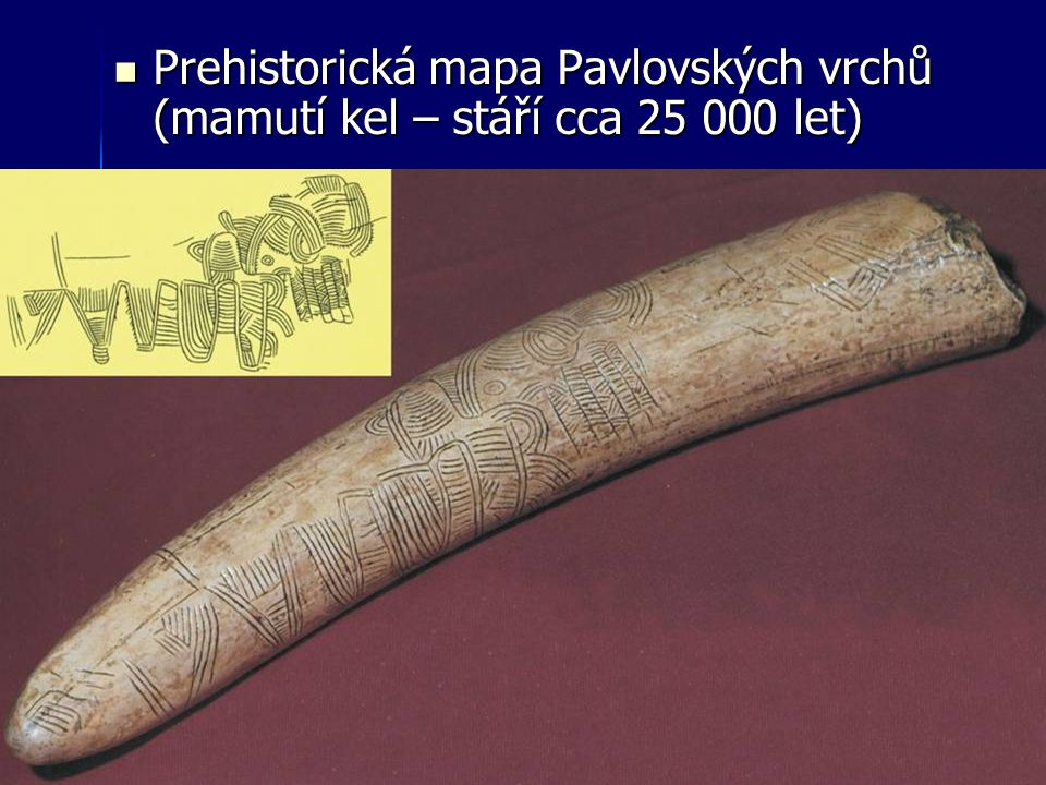 Prehistorická mapa Pavlovských vrchů (mamutí kel – stáří cca 25 000 let) Prehistorická mapa Pavlovských vrchů (mamutí kel – stáří cca 25 000 let)
