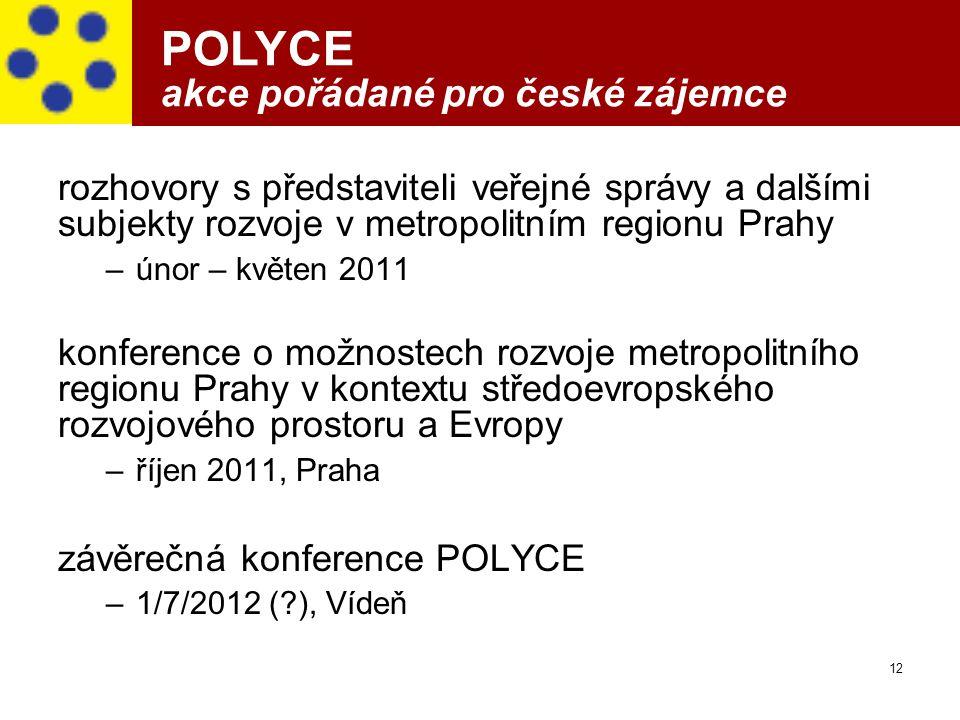 12 POLYCE akce pořádané pro české zájemce rozhovory s představiteli veřejné správy a dalšími subjekty rozvoje v metropolitním regionu Prahy –únor – kv