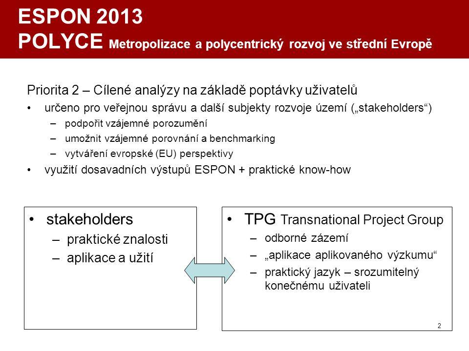 2 ESPON 2013 POLYCE Metropolizace a polycentrický rozvoj ve střední Evropě Priorita 2 – Cílené analýzy na základě poptávky uživatelů určeno pro veřejn