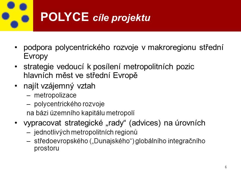 6 POLYCE cíle projektu podpora polycentrického rozvoje v makroregionu střední Evropy strategie vedoucí k posílení metropolitních pozic hlavních měst v