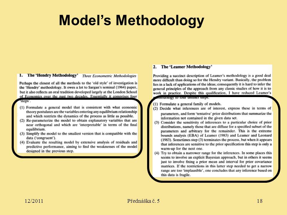 12/2011Přednáška č. 518 Model's Methodology