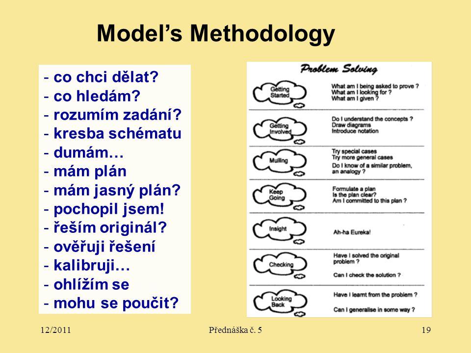 12/2011Přednáška č.519 Model's Methodology - co chci dělat.
