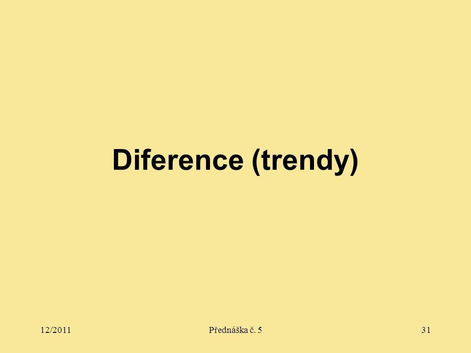 12/2011Přednáška č. 531 Diference (trendy)