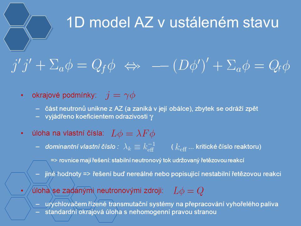 1D model AZ v ustáleném stavu okrajové podmínky: –část neutronů unikne z AZ (a zaniká v její obálce), zbytek se odráží zpět –vyjádřeno koeficientem odrazivosti úloha na vlastní čísla: –dominantní vlastní číslo : (...