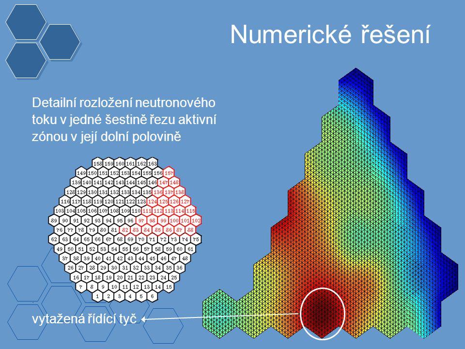 Numerické řešení Detailní rozložení neutronového toku v jedné šestině řezu aktivní zónou v její dolní polovině vytažená řídící tyč