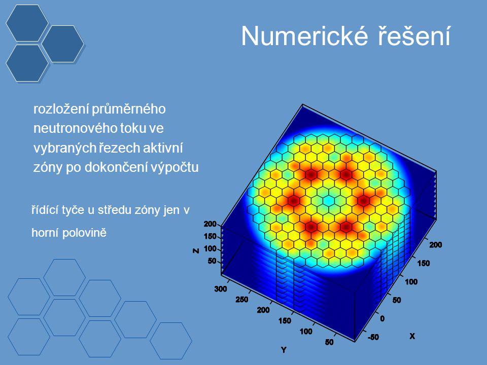 Numerické řešení rozložení průměrného neutronového toku ve vybraných řezech aktivní zóny po dokončení výpočtu řídící tyče u středu zóny jen v horní polovině
