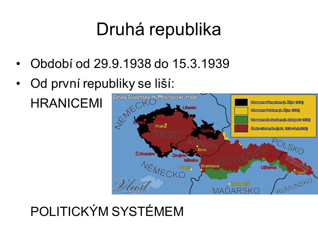 Druhá republika Období od 29.9.1938 do 15.3.1939 Od první republiky se liší: HRANICEMI POLITICKÝM SYSTÉMEM