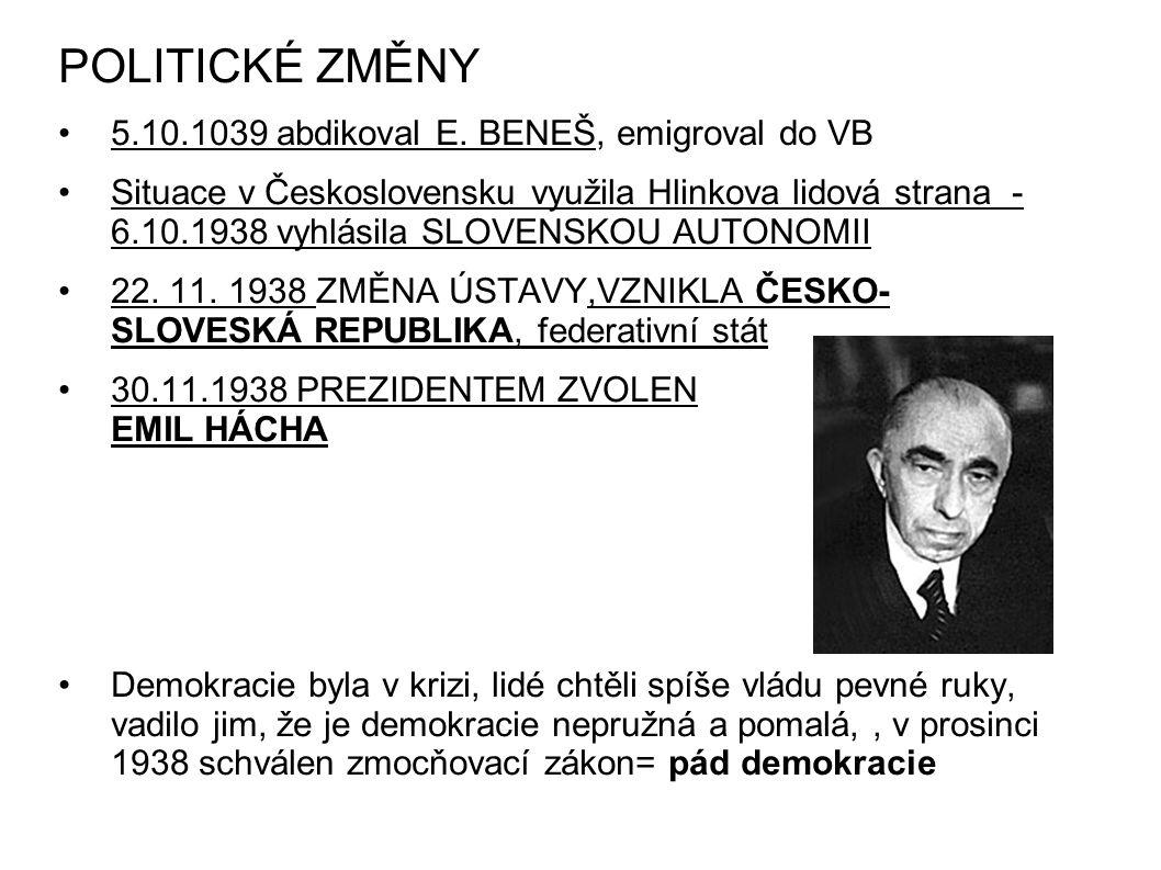 POLITICKÉ ZMĚNY 5.10.1039 abdikoval E. BENEŠ, emigroval do VB Situace v Československu využila Hlinkova lidová strana - 6.10.1938 vyhlásila SLOVENSKOU