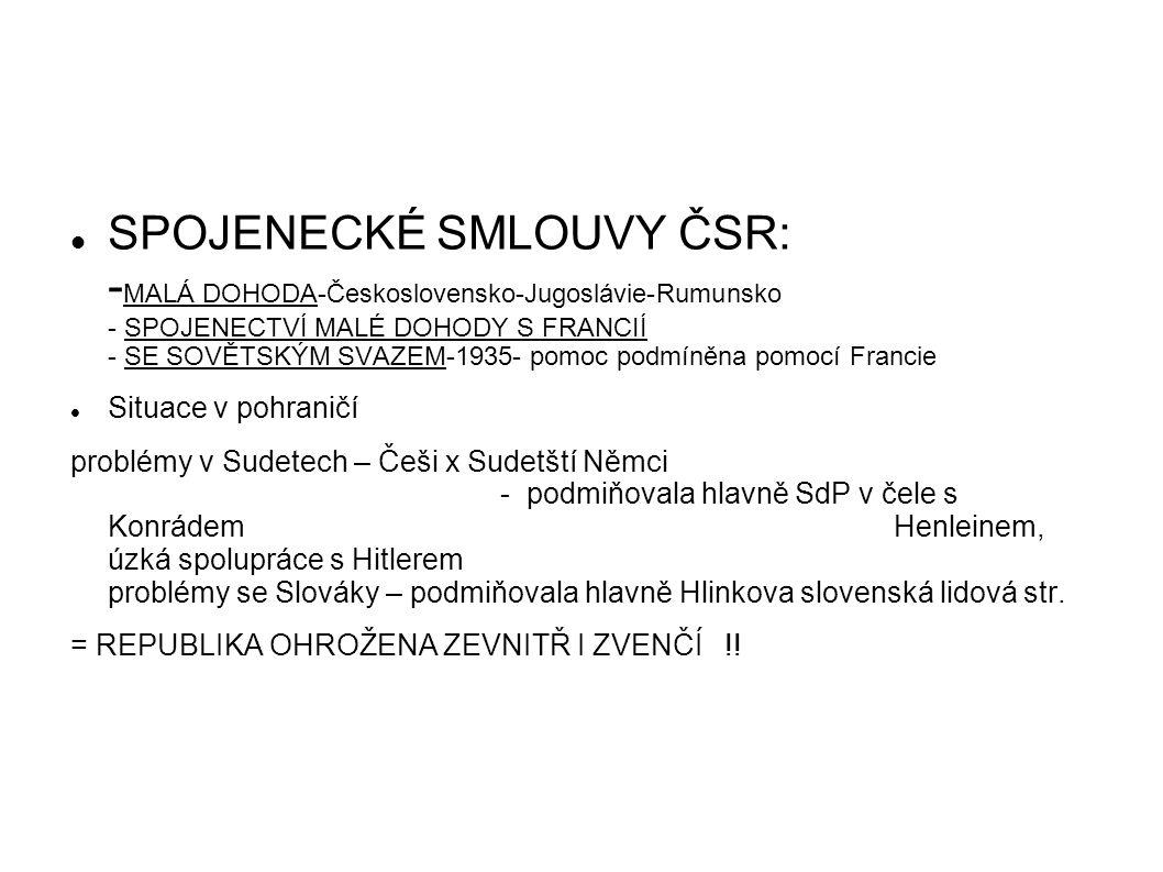 SPOJENECKÉ SMLOUVY ČSR: - MALÁ DOHODA-Československo-Jugoslávie-Rumunsko - SPOJENECTVÍ MALÉ DOHODY S FRANCIÍ - SE SOVĚTSKÝM SVAZEM-1935- pomoc podmíně