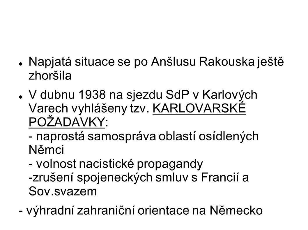 Napjatá situace se po Anšlusu Rakouska ještě zhoršila V dubnu 1938 na sjezdu SdP v Karlových Varech vyhlášeny tzv. KARLOVARSKÉ POŽADAVKY: - naprostá s