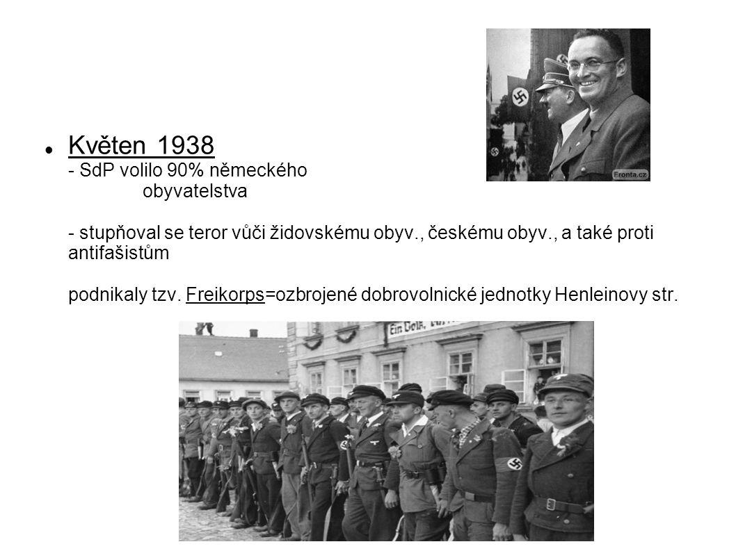 Květen 1938 - SdP volilo 90% německého obyvatelstva - stupňoval se teror vůči židovskému obyv., českému obyv., a také proti antifašistům podnikaly tzv