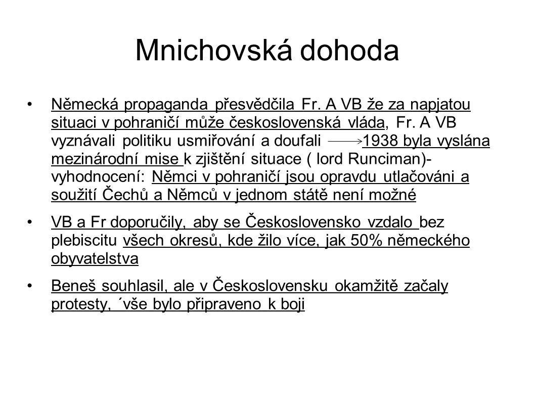 Mnichovská dohoda Německá propaganda přesvědčila Fr. A VB že za napjatou situaci v pohraničí může československá vláda, Fr. A VB vyznávali politiku us