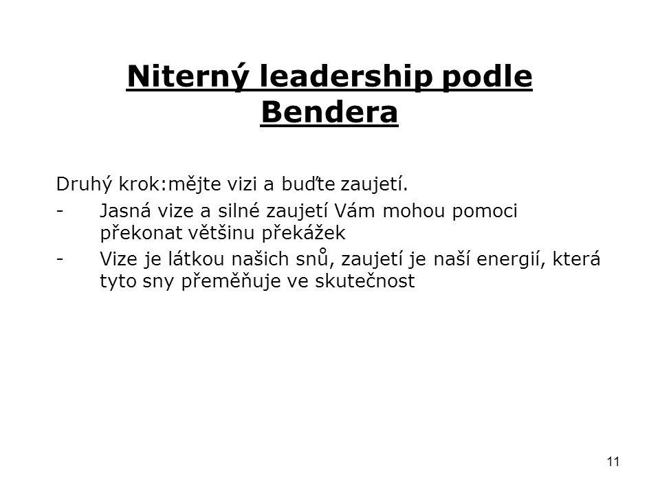 11 Niterný leadership podle Bendera Druhý krok:mějte vizi a buďte zaujetí.
