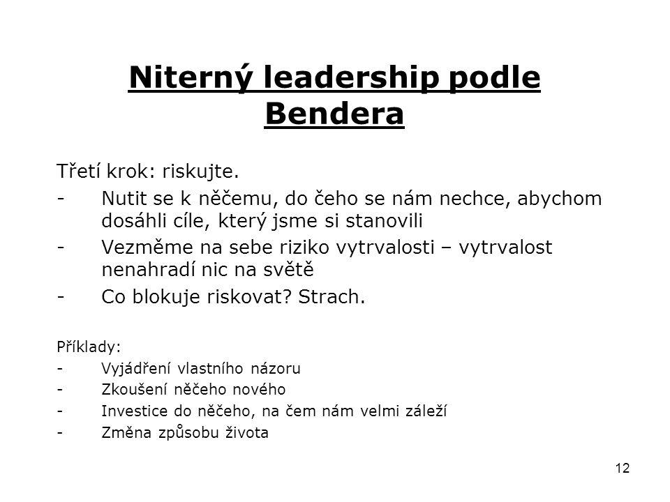 12 Niterný leadership podle Bendera Třetí krok: riskujte.