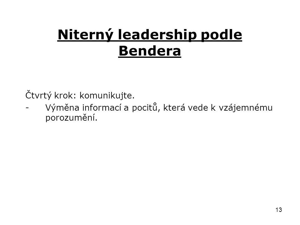 13 Niterný leadership podle Bendera Čtvrtý krok: komunikujte.