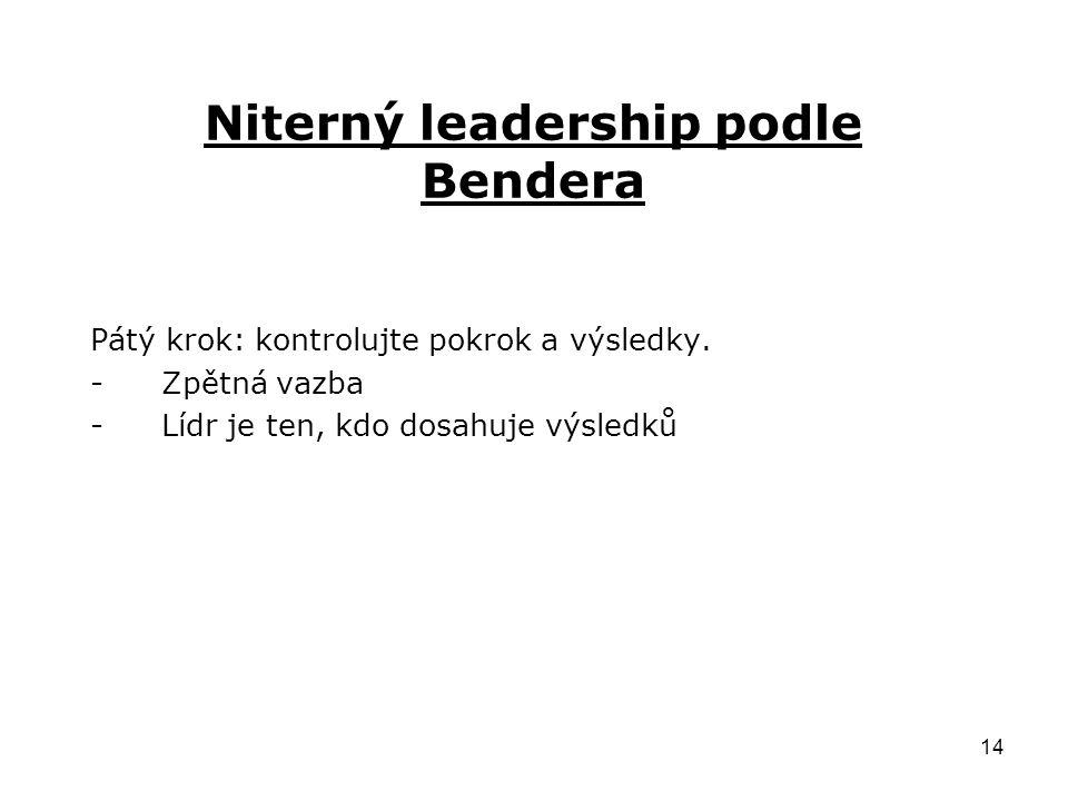 14 Niterný leadership podle Bendera Pátý krok: kontrolujte pokrok a výsledky.