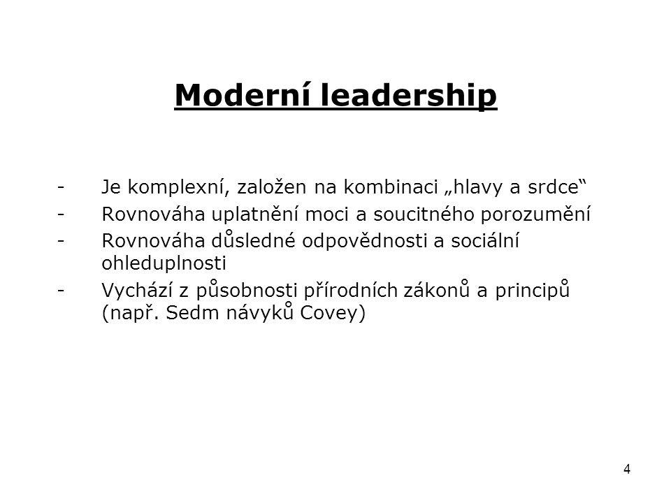 """4 Moderní leadership -Je komplexní, založen na kombinaci """"hlavy a srdce -Rovnováha uplatnění moci a soucitného porozumění -Rovnováha důsledné odpovědnosti a sociální ohleduplnosti -Vychází z působnosti přírodních zákonů a principů (např."""
