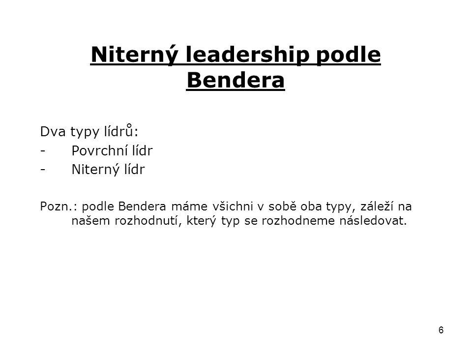 6 Niterný leadership podle Bendera Dva typy lídrů: -Povrchní lídr -Niterný lídr Pozn.: podle Bendera máme všichni v sobě oba typy, záleží na našem rozhodnutí, který typ se rozhodneme následovat.