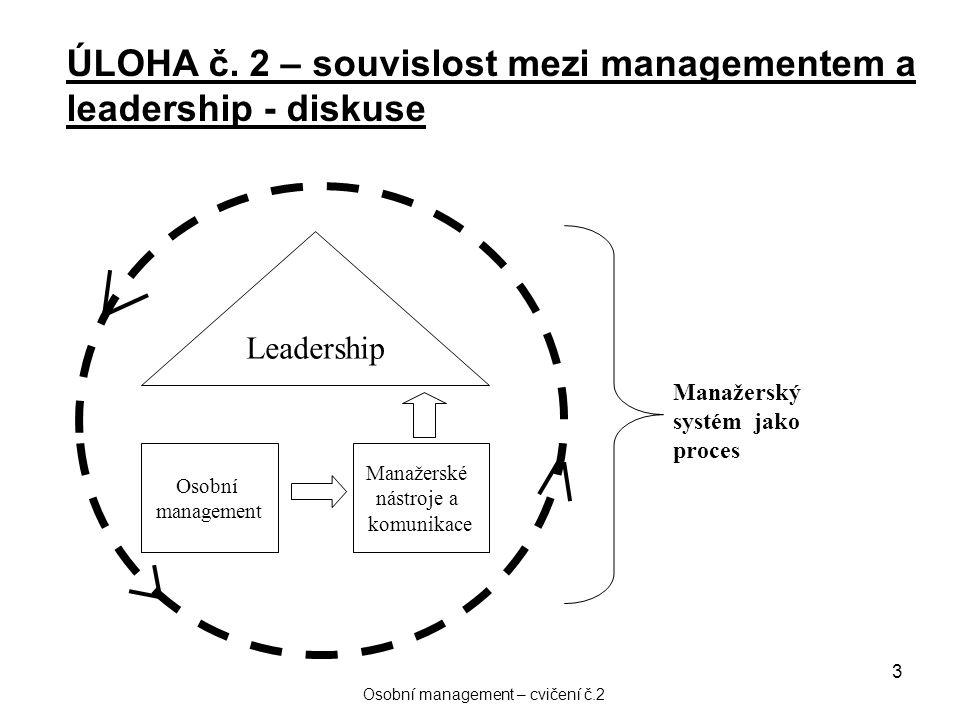 3 Leadership Osobní management Manažerské nástroje a komunikace Manažerský systém jako proces ÚLOHA č. 2 – souvislost mezi managementem a leadership -
