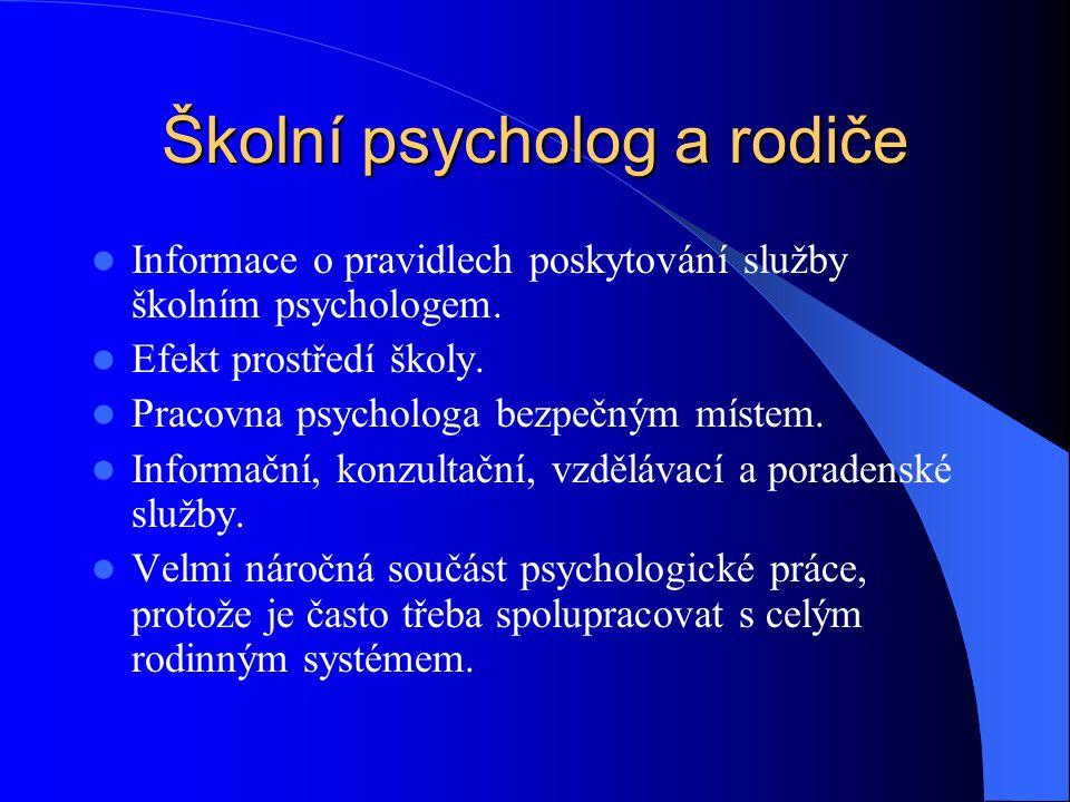 Školní psycholog a rodiče Informace o pravidlech poskytování služby školním psychologem. Efekt prostředí školy. Pracovna psychologa bezpečným místem.