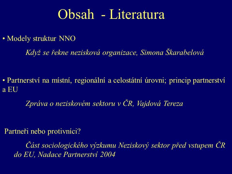 Obsah - Literatura Modely struktur NNO Když se řekne nezisková organizace, Simona Škarabelová Partnerství na místní, regionální a celostátní úrovni; princip partnerství a EU Zpráva o neziskovém sektoru v ČR, Vajdová Tereza Partneři nebo protivníci.