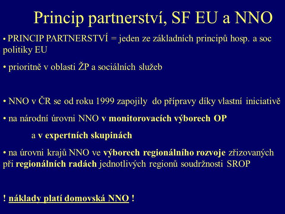Princip partnerství, SF EU a NNO PRINCIP PARTNERSTVÍ = jeden ze základních principů hosp.