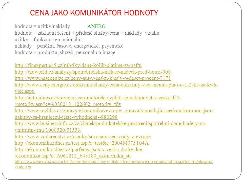 CENA JAKO KOMUNIKÁTOR HODNOTY hodnota = užitky/náklady ANEBO hodnota = základní řešení + přidané služby/cena + náklady vztahu užitky – funkční a emocionální náklady – peněžní, časové, energetické, psychické hodnota – produktu, služeb, personálu a image http://finexpert.e15.cz/rubriky/dane-kolik-platime-za-naftu http://cfoworld.cz/analyzy/spotrebitelska-inflace-nadech-pred-bouri-908 http://www.nasepenize.cz/ceny-aut-v-cesku-klesly-o-deset-procent-7171 http://www.cenyenergie.cz/elektrina/clanky/cena-elektriny-v-eu-nemci-plati-o-1-2-kc-za-kwh- vice.aspx http://auto.idnes.cz/srovnani-cen-motorek-vyplati-se-nakupovat-v-cesku-fs5- /motorky.asp c=A080218_122602_motorky_fdv http://www.rozhlas.cz/zpravy/ekonomikavevrope/_zprava/s-posilujici-ceskou-korunou-jsou- nakupy-za-hranicemi-jeste-vyhodnejsi--880298 http://www.businessinfo.cz/cz/clanek/podnikatelske-prostredi/spotrebni-dane-bariery-na- vnitrnim-trhu/1000520/51553/ http://www.vodarenstvi.cz/clanky/srovnani-cen-vody-v-evrope http://ekonomika.idnes.cz/test.asp r=test&c=2004M073T04A http://ekonomika.idnes.cz/parfemy-jsou-v-cesku-drahe-dce- /ekonomika.asp c=A061212_643580_ekonomika_str http://www.vasevec.cz/vip-blogy/predrazene-ceny-mobilnich-operatoru-jsou-neudrzitelne-spatne-regulovane- vladou-cr http://finexpert.e15.cz/rubriky/dane-kolik-platime-za-naftu http://cfoworld.cz/analyzy/spotrebitelska-inflace-nadech-pred-bouri-908 http://www.nasepenize.cz/ceny-aut-v-cesku-klesly-o-deset-procent-7171 http://www.cenyenergie.cz/elektrina/clanky/cena-elektriny-v-eu-nemci-plati-o-1-2-kc-za-kwh- vice.aspx http://auto.idnes.cz/srovnani-cen-motorek-vyplati-se-nakupovat-v-cesku-fs5- /motorky.asp c=A080218_122602_motorky_fdv http://www.rozhlas.cz/zpravy/ekonomikavevrope/_zprava/s-posilujici-ceskou-korunou-jsou- nakupy-za-hranicemi-jeste-vyhodnejsi--880298 http://www.businessinfo.cz/cz/clanek/podnikatelske-prostredi/spotrebni-dane-bariery-na- vnitrnim-trhu/1000520/51553/ http://www.vodarenstvi.cz/clanky/srovnani-cen-vody-v-evrope http://