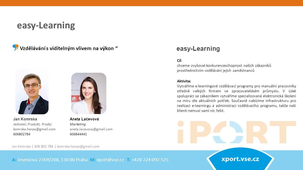 Jan Komrska Jednatel, Produkt, Prodej komrska.honza@gmail.com 606802784 easy-Learning Aktivita: Vytváříme e-learningové vzdělávací programy pro manuál