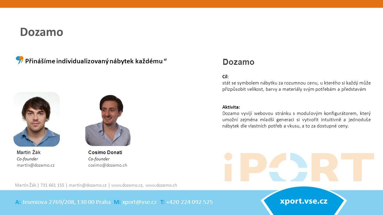 Martin Žák Co-founder martin@dozamo.cz Dozamo Aktivita: Dozamo vyvíjí webovou stránku s modulovým konfigurátorem, který umožní zejména mladší generaci