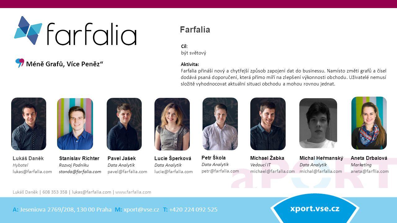 Stanislav Richter Rozvoj Podniku standa@farfalia.com Farfalia Aktivita: Farfalia přináší nový a chytřejší způsob zapojení dat do businessu. Namísto zm