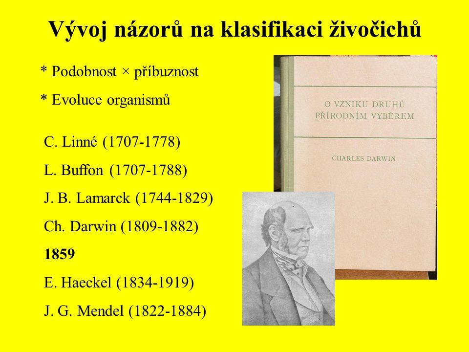 Vývoj názorů na klasifikaci živočichů * Podobnost × příbuznost * Evoluce organismů C. Linné (1707-1778) L. Buffon (1707-1788) J. B. Lamarck (1744-1829