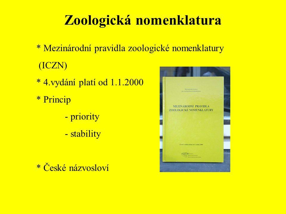 Zoologická nomenklatura * Mezinárodní pravidla zoologické nomenklatury (ICZN) * 4.vydání platí od 1.1.2000 * Princip - priority - stability * České názvosloví